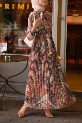 Esra Keküllüoğlu - Çiçekli Şifon Elbise - Turuncu