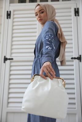 Esra Keküllüoğlu - Çizgili Ceket Elbise-Mavi