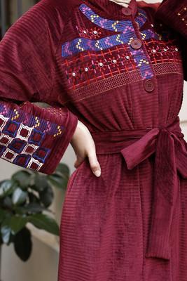 Esra Keküllüoğlu - Etnik Nakışlı Kimono - Bordo