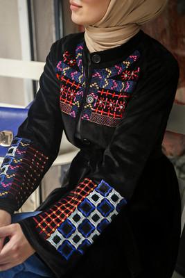 Esra Keküllüoğlu - Etnik Nakışlı Kimono - Siyah