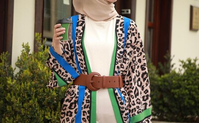 - Feride Leopar Kimono-S.Kahve