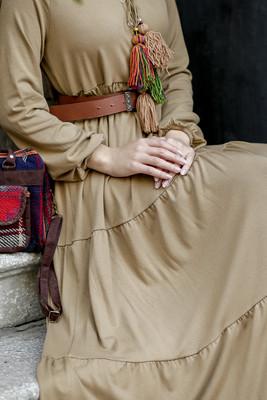 Fır Fırlı Düz Elbise - Camel - Thumbnail
