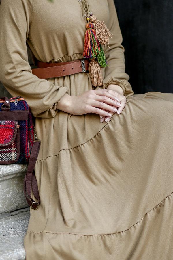 Fır Fırlı Düz Elbise - Camel