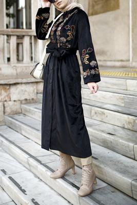 Esra Keküllüoğlu - Hardal Nakışlı Kimono - Siyah