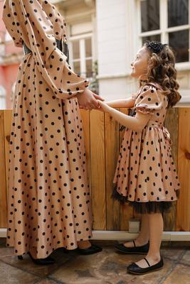 - Kapadokya Puantiyeli Çocuk Elbise - Vizon