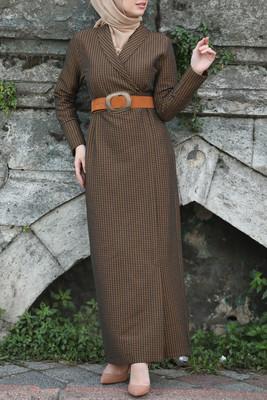 Esra Keküllüoğlu - Kaz Ayağı Kruvaze Elbise - Kahve