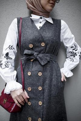 Esra Keküllüoğlu - Kolları Füme Nakışlı Gömlek - Beyaz