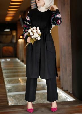 Esra Keküllüoğlu - Kolu Nakışlı İkili Tüvit Takım - Siyah