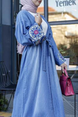 Esra Keküllüoğlu - Kolları Nakışlı Kot Kimono - Açık Mavi
