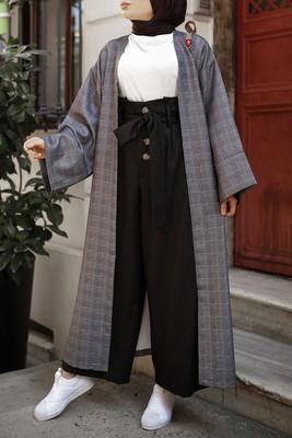 Esra Keküllüoğlu - Küçük ekoseli Kimono - Siyah