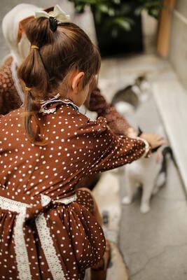 - Puantiyeli Çocuk Elbise - Kahve